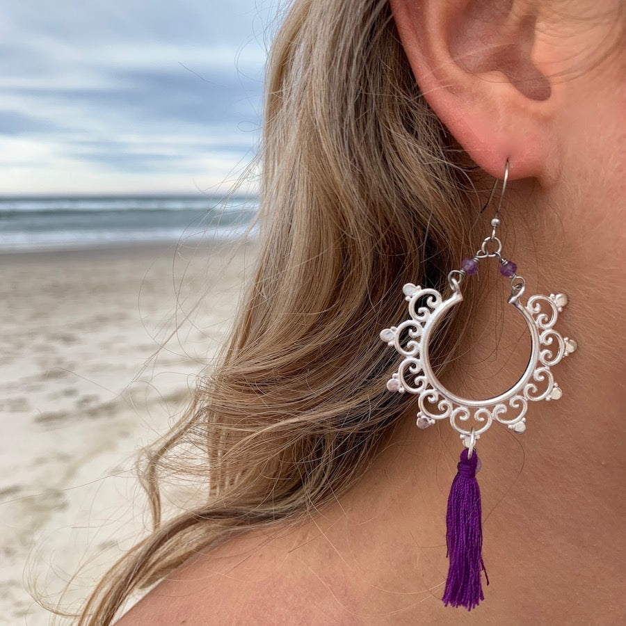 Silver Boho tassel Earrings with amethyst
