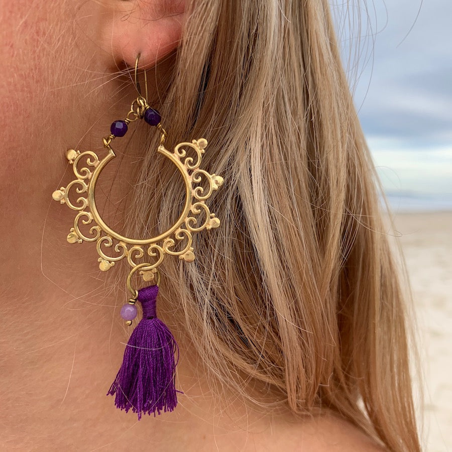 Brass Boho tassel Earrings with amethyst