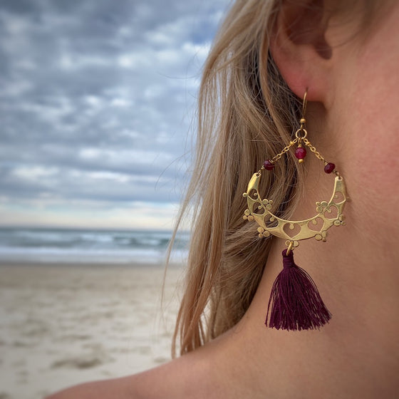 Brass Boho Tassel Earrings with Ruby Quartz