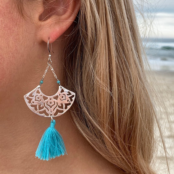 Silver Boho Tassel Earrings with Turquoise