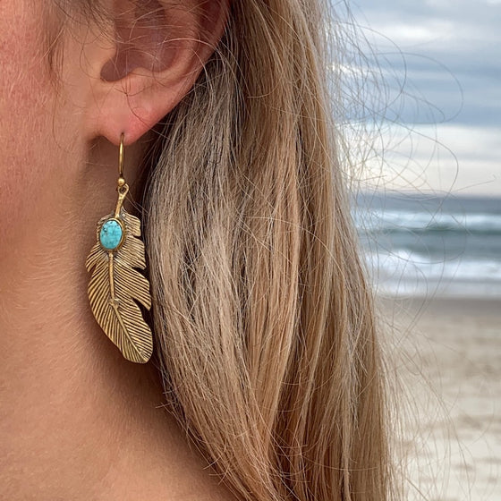 Eagle Feather brass Earrings with Turquoise