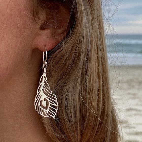 Peacock Feather Silver Earrings