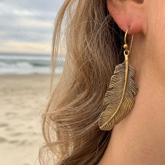 Eagle Feather Brass Earrings