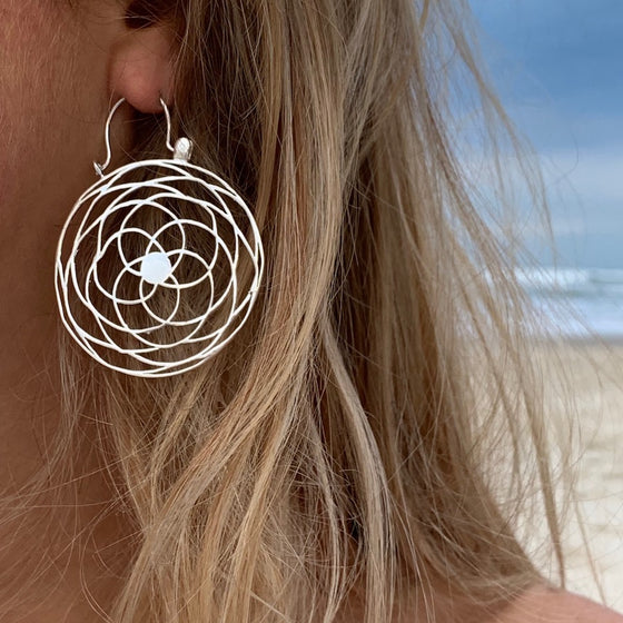 Rose Of Venus Sacred Geometry Lg Silver Earrings
