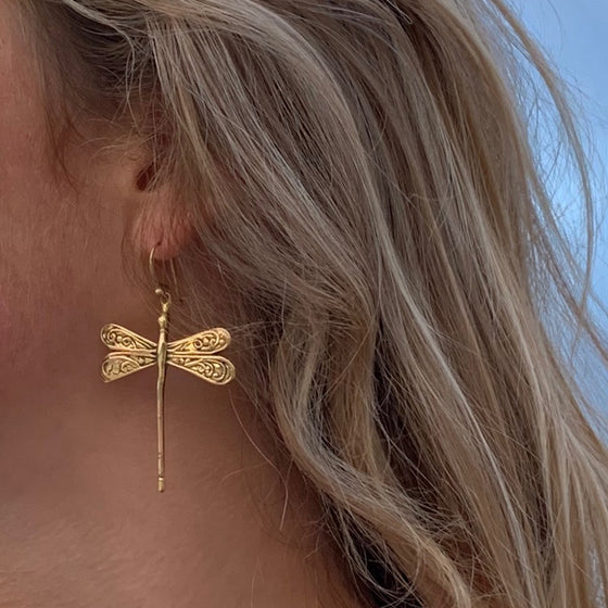 Dragonfly Brass Earrings