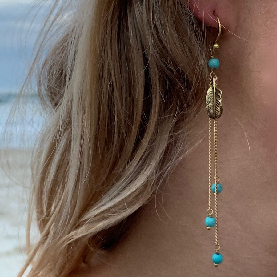 Feather Earrings brass chain & Turquoise