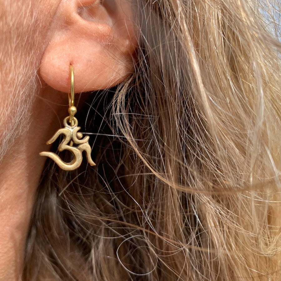 OM Brass Earrings