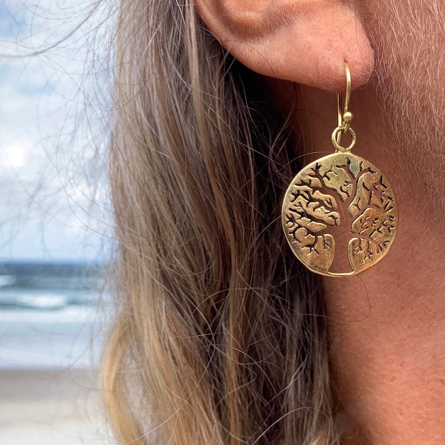 TREE OF LIFE Brass Earrings