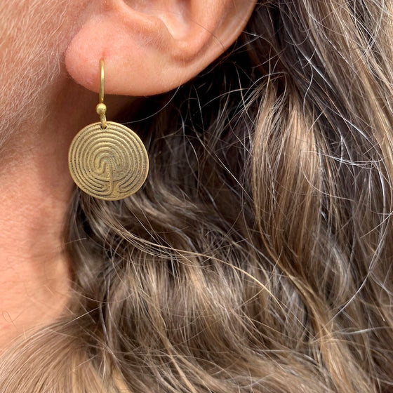 Labyrinth Brass earrings