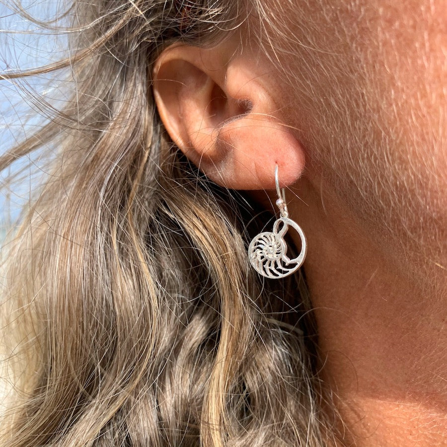 Nautilus Shell Sacred Geometry Silver Earrings