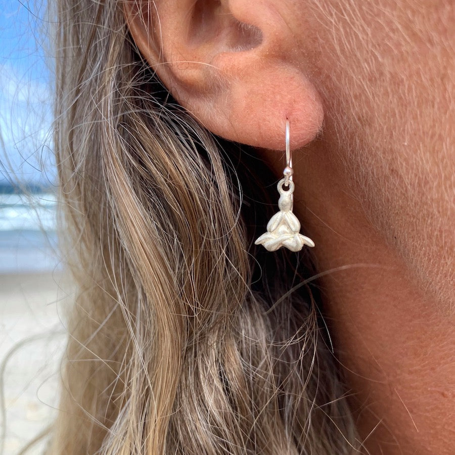 Meditating Yogi silver Earrings