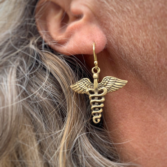 brass Caduceus Earrings