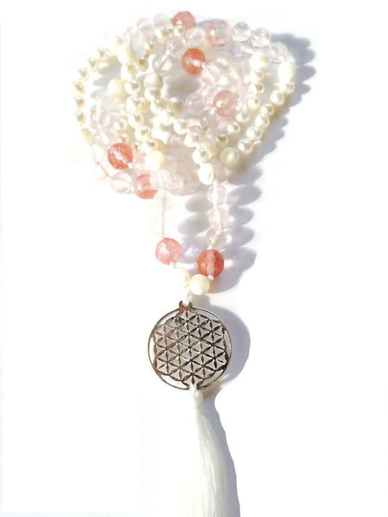 Mala beads yoga necklace with Flower of life pendant and gemstones of rose quartz and pearls