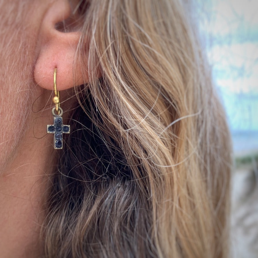 Diamante CROSS Brass Earrings sm