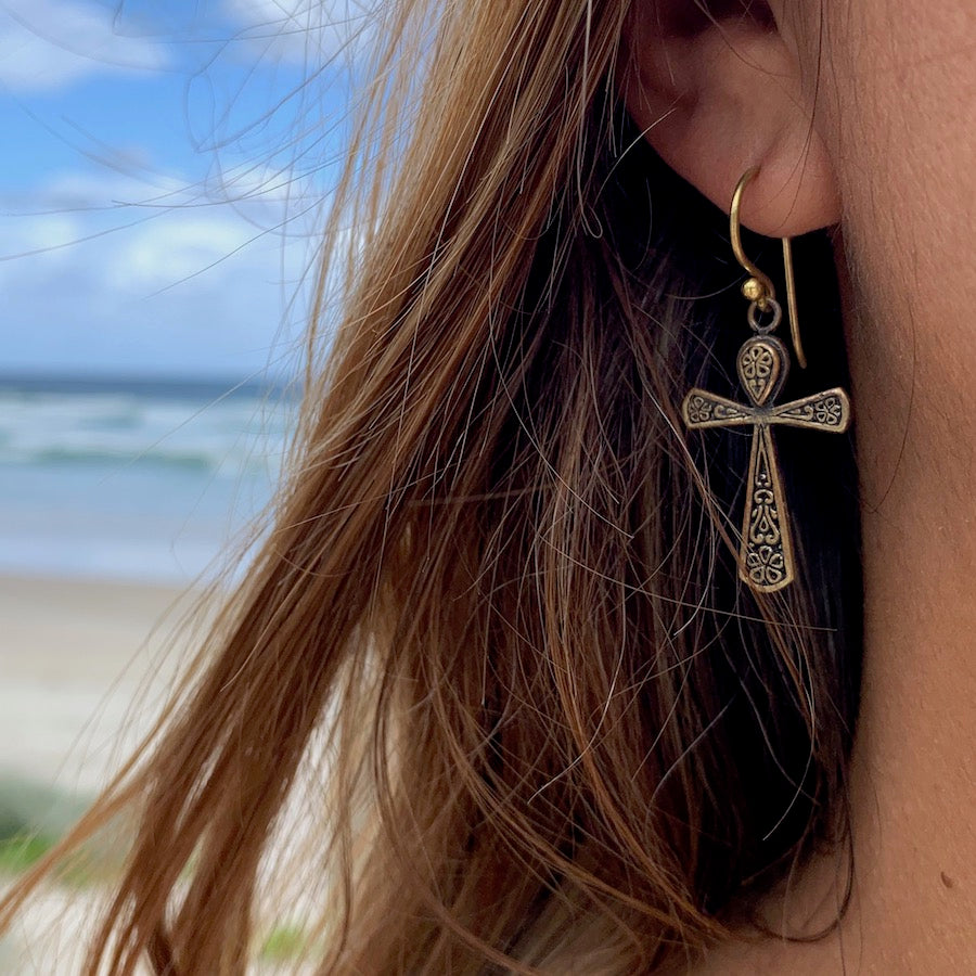 Ankh Brass Earrings