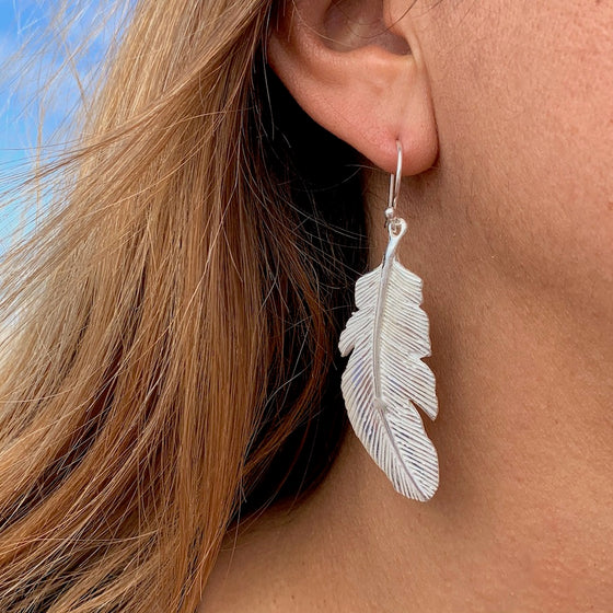 Eagle Feather Silver Earrings