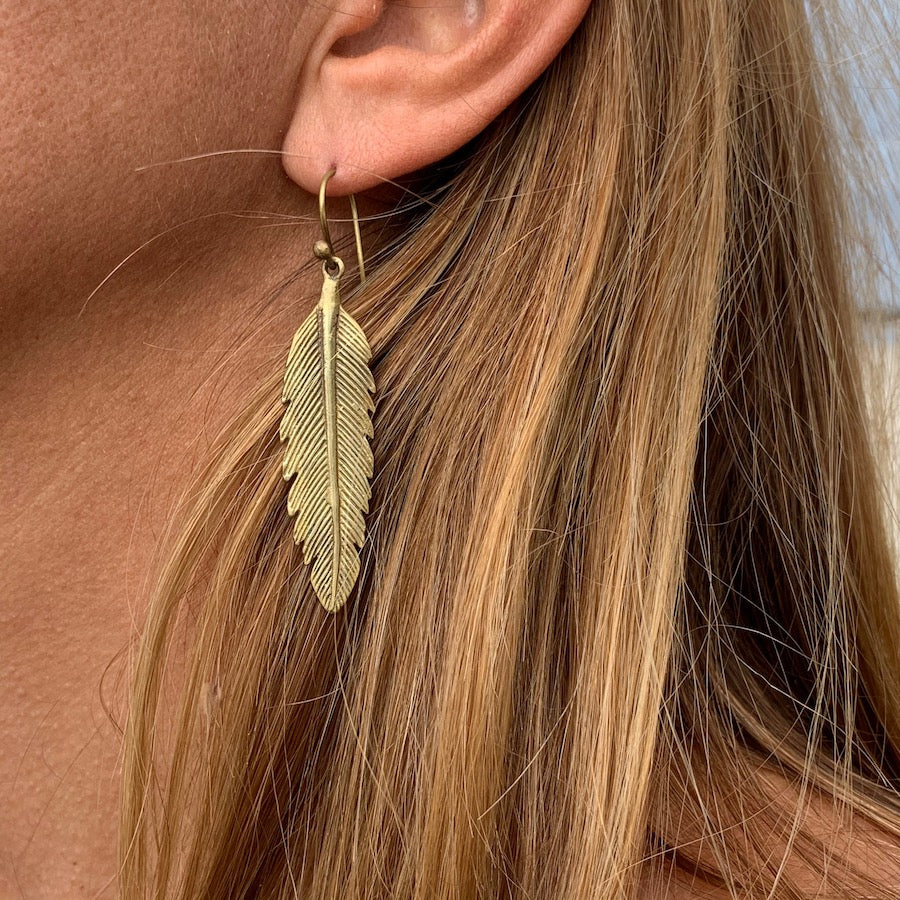 Arrow Feather Brass Earrings