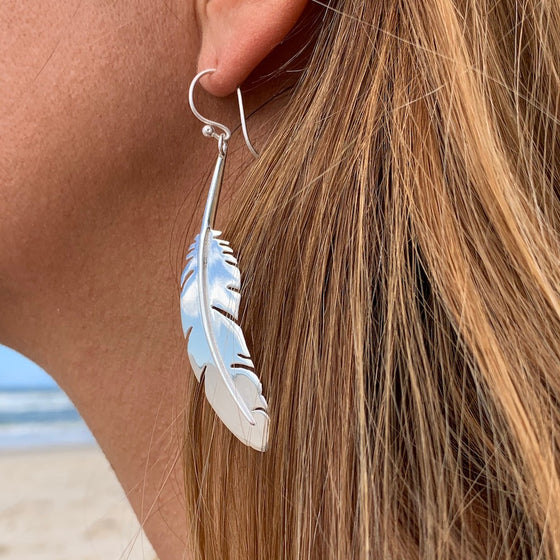 FEATHER Silver Earrings