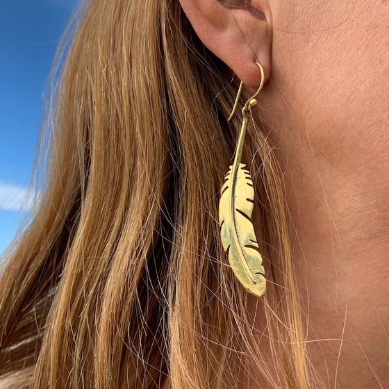 FEATHER Brass boho Earrings