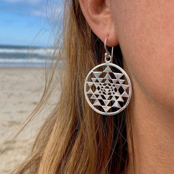 Sri Yantra Sacred Geometry Silver Earrings