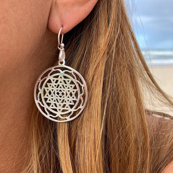 Sri Yantra Mandala Sacred Geometry Silver Earrings