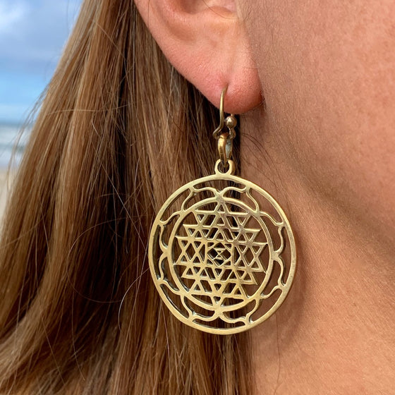Sri Yantra Mandala Sacred Geometry Brass Earrings