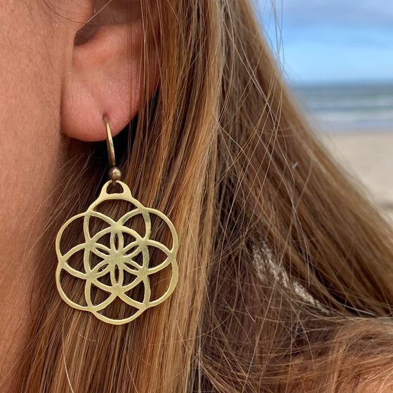 SEED OF LIFE Sacred Geometry Brass Earrings
