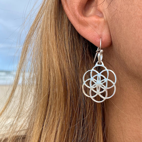 SEED OF LIFE Sacred Geometry Silver Earrings