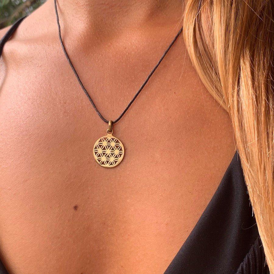 Flower of Life Necklace sm Brass Sacred Geometry Pendant