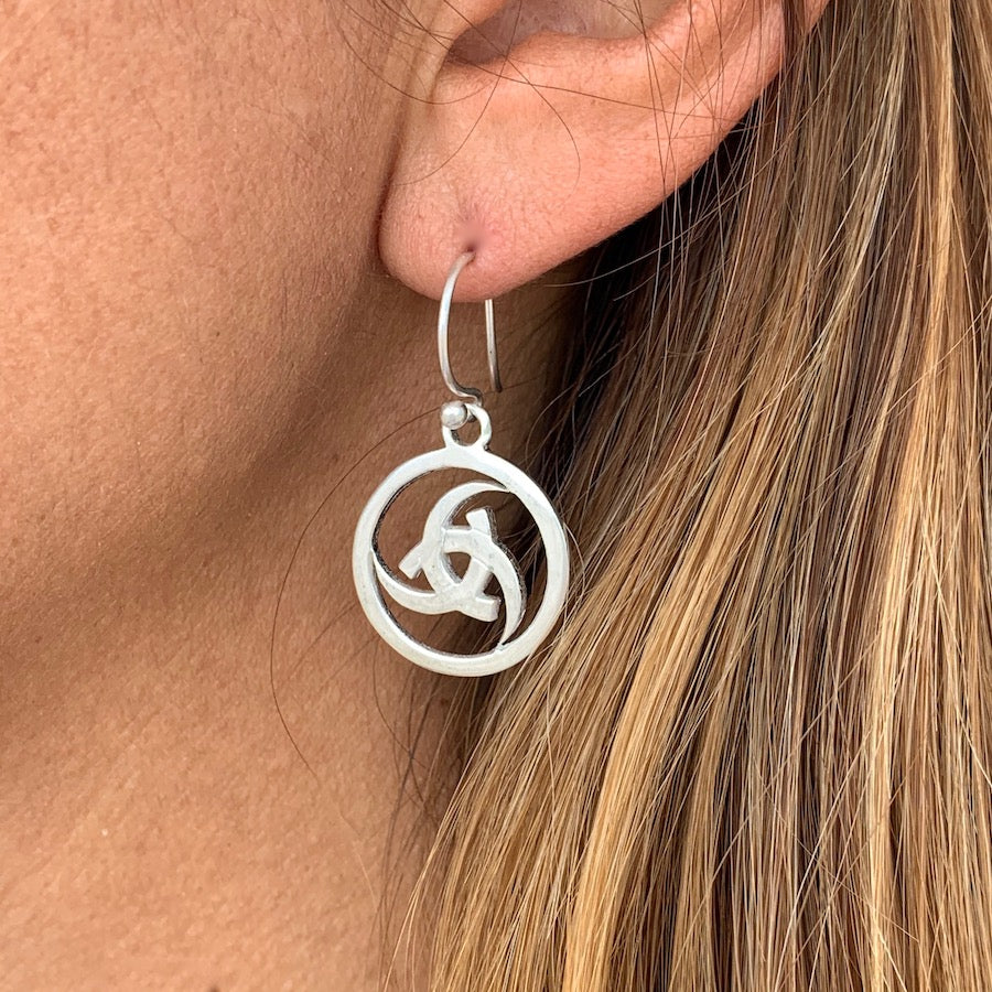 Odins Horn Circle silver Celtic earrings