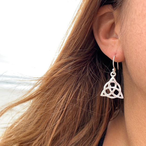 Celtic Triquetra Knot silver earrings