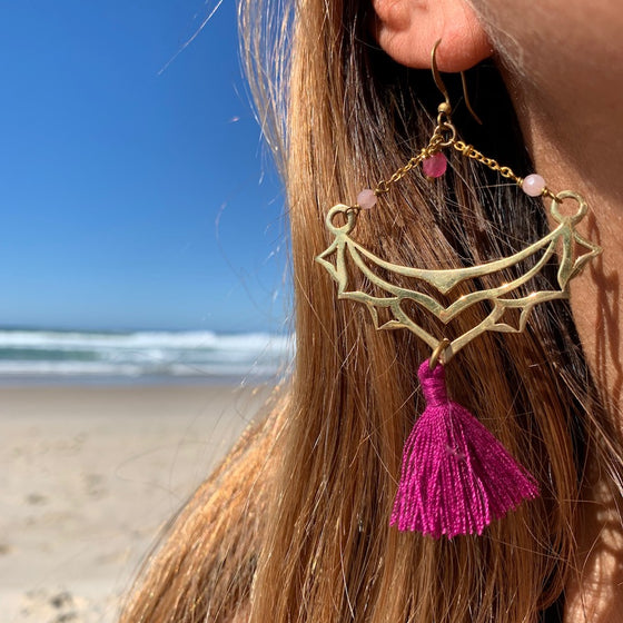 Brass Boho Tassel Earrings with Rhodochrosite