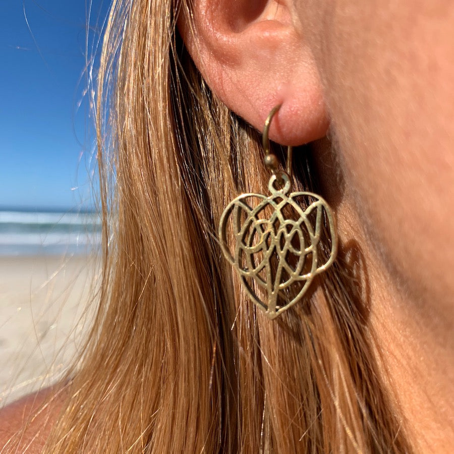 TRIBAL CELTIC HEART brass earrings