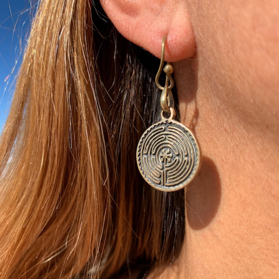 Labyrinth of Chartres Brass earrings