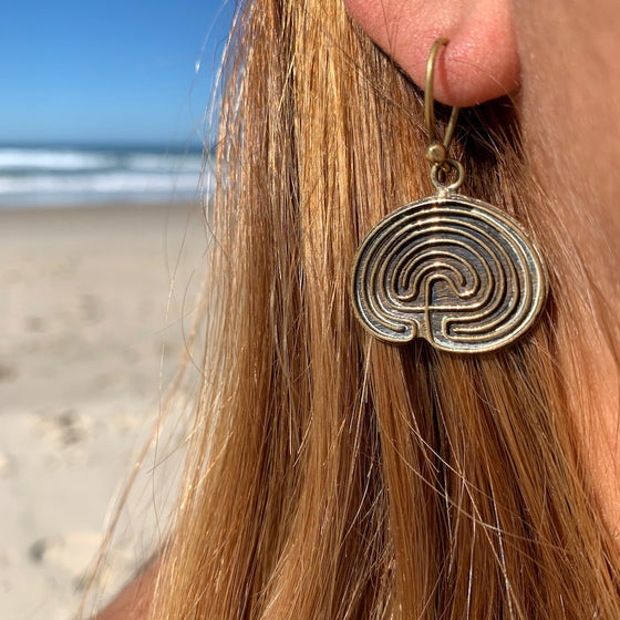 Hopi Labyrinth Brass earrings