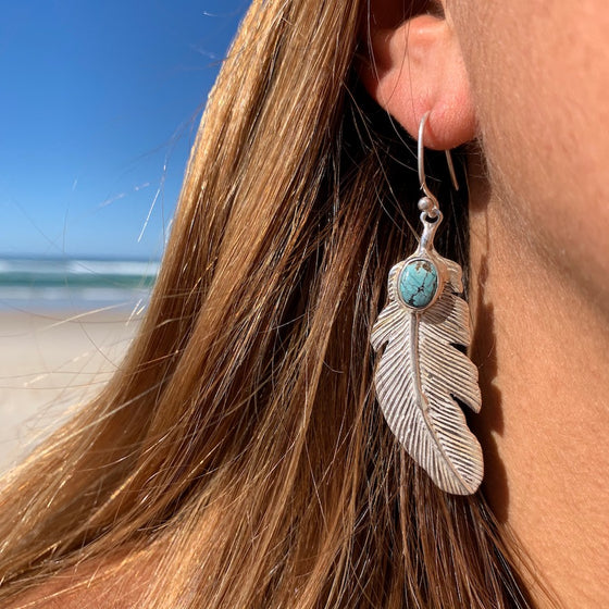 Eagle Feather Silver Earrings with Turquoise