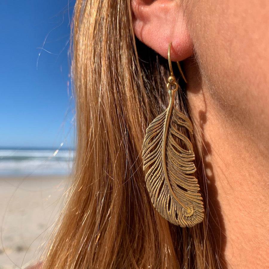 Peacock Feather Brass Earrings