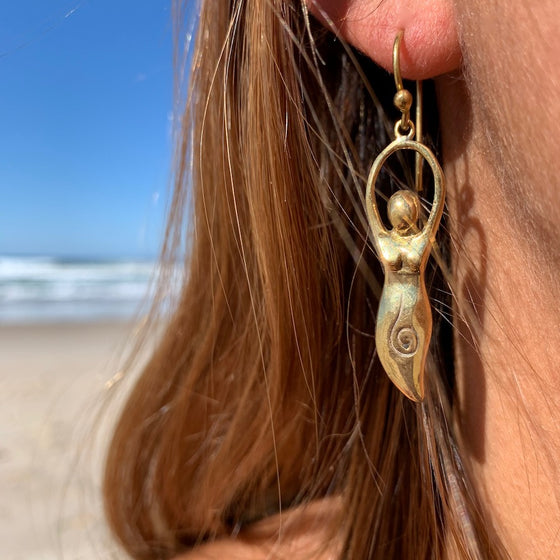 Goddess brass earrings