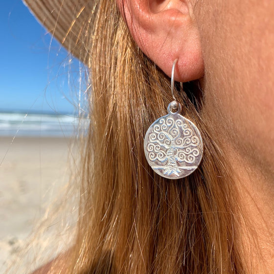 CURLY TREE OF LIFE Silver Earrings
