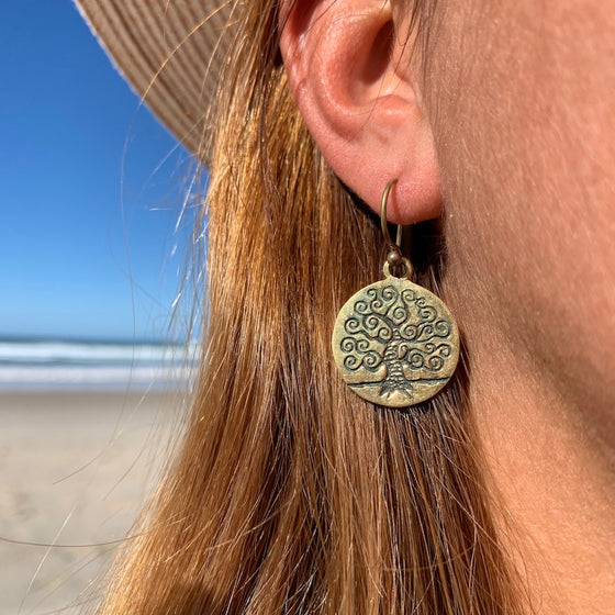 CURLY TREE OF LIFE Brass Earrings