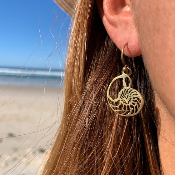 Nautilus Shell Sacred Geometry Brass Earrings