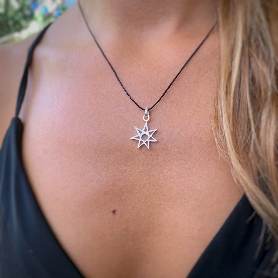 Fairy Star Septagram silver pendant necklace