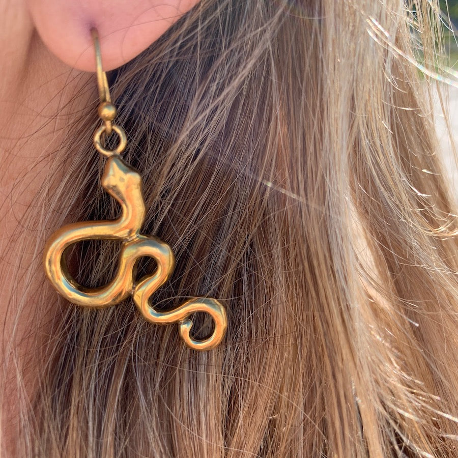 Snake brass earrings