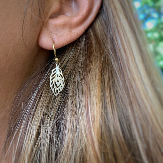 Peacock Feather small brass Earrings