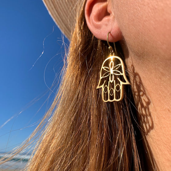 Hamsa Hand Brass Earrings