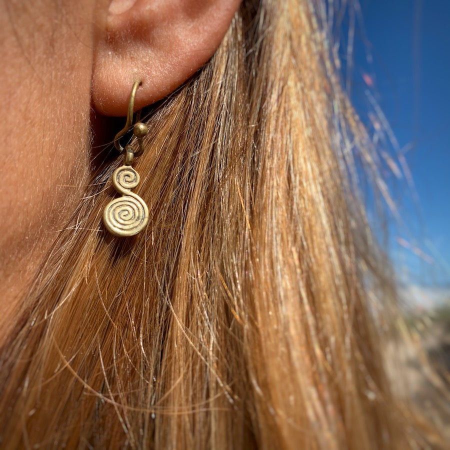 Celtic Double Spiral Brass earrings small
