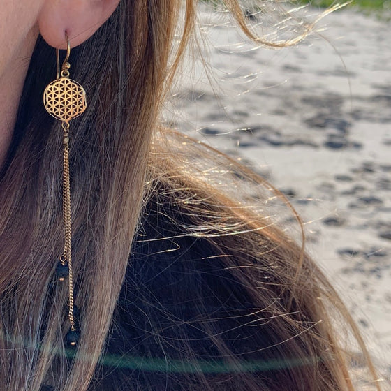 Flower Of Life Sacred Geometry Earrings brass chain & Lava Stone
