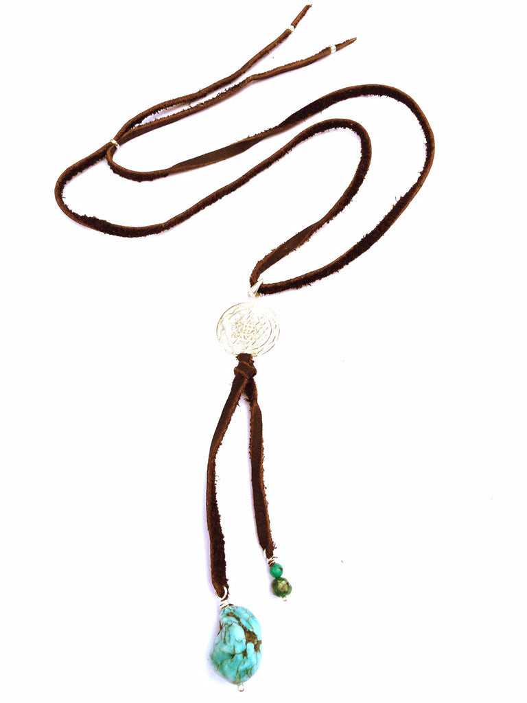 silver Sri Yantra & Turquoise Boho Suede necklace - Heart Mala