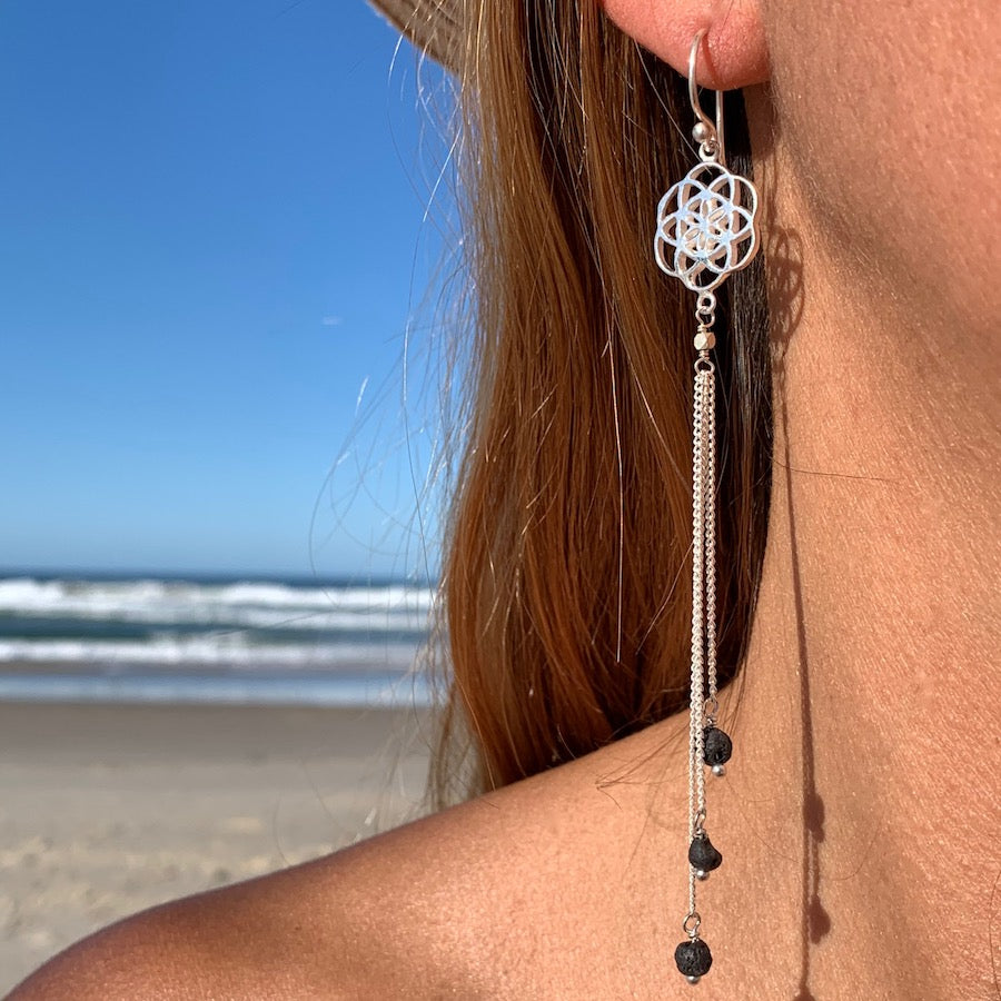 Seed Of Life sacred geometry Earrings silver chain & Lava Stone