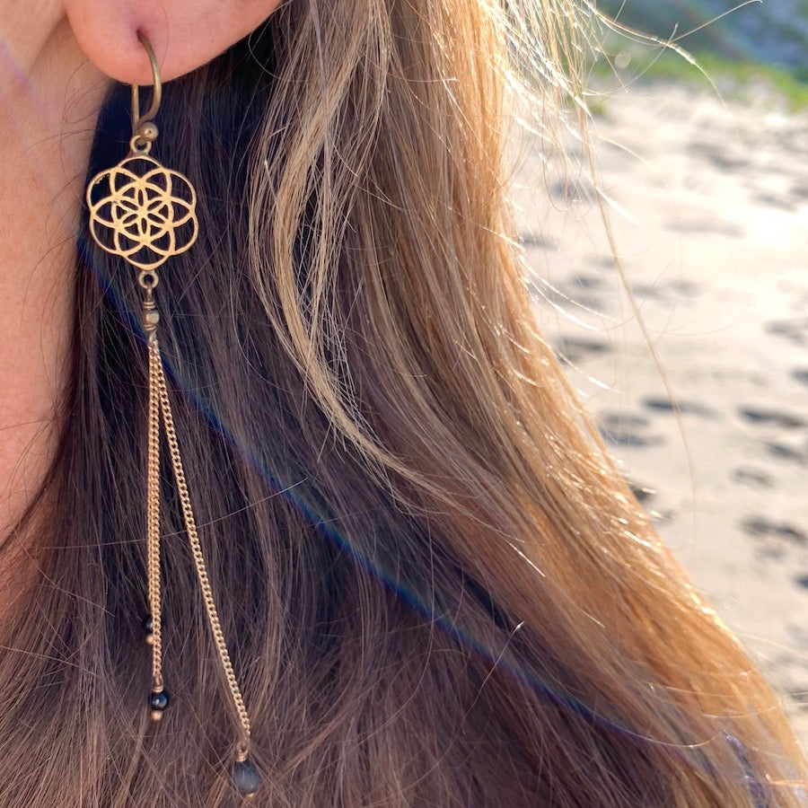 Seed Of Life sacred geometry Earrings brass chain & Lava Stone